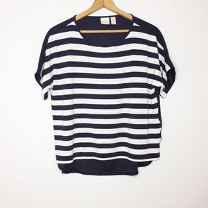 Chico's Striped Top Navy White 10 slightly cropped